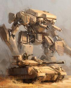 Mech sketch by Jon Kuo  / https://www.artstation.com/artwork/bxgEd