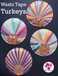 We are always looking for new crafts to do! Thanksgiving is just around the corner, and it is time to start getting ready! My girls suggestions something with turkeys and washi tape. It is always fun to see how many Autumn Crafts, Fall Crafts For Kids, Holiday Crafts, Art For Kids, Thanksgiving Activities For Kids, Thanksgiving Art, Easy Crafts To Make, Turkey Craft, Preschool Crafts