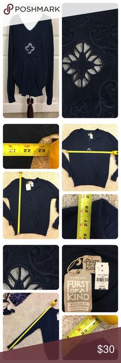NWT! Furst of a Kind navy sweater New with tags!  Furst of a Kind navy sweater with cut out front. Furst of a Kind takes vintage sweaters and makes them unique. No size or material tag. Oversize fit so will mark XL. Soft sweater, so probably cotton blend. LF Sweaters