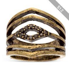 Steve Madden Gold Rhinestone Accented Tribal Ring