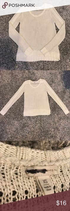 Cato XS Glimmer Shimmer Cream Long Sleeve Sweater Beautiful chunky Cato sweater! Great condition! I don't know if you can tell from the pictures put it has silver thread running through it for a glimmer effect! Wear Long sleeve or roll up and wear chunky bracelets with it! Reasonable offers accepted! Bundle for a private discount! Cato Sweaters Crew & Scoop Necks