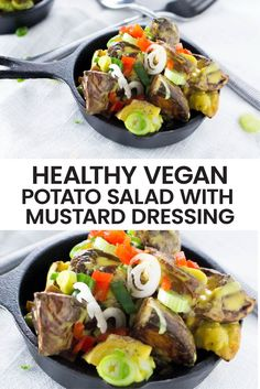 The perfect addition to any cookout, BBQ or picnic is this healthy vegan potato salad recipe. It's low on calories and perfect for weight loss because unlike the classic potato salad it's completely mayo free and vegetarian!  Ideal for sitting outside for hours at a time while enjoying a warm summer BBQ. #weightlossrecipe #lowcalorierecipe #veganpotatosalad