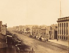 View of Swanston Street looking north from Collins Street. 1858