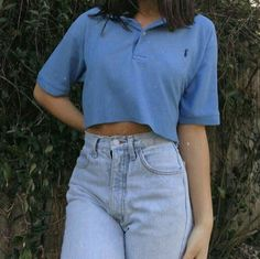 aesthetic clothes g e o r g i a n a blue polo shirt cropped light blue mom jeans fashion summer casual outfits clothes korean fashion school street everyday comfy aesthetic soft minimalistic kawaii cute g e o r g i a n a : c l o t h e s Aesthetic Fashion, Aesthetic Clothes, Look Fashion, 90s Fashion, Summer Aesthetic, Fashion Outfits, 90s Aesthetic, Fashion Vintage, Aesthetic Outfit
