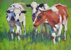 "Daily+Paintworks+-+""Cow+Powow""+-+Original+Fine+Art+for+Sale+-+©+Carol+Marine"