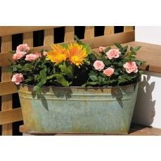 Distressed Tin Window Box - Large    $18.00 @ http://www.antiquefarmhouse.com/current-sale-events/outdoor.html