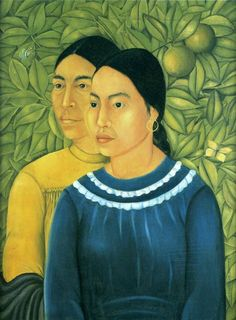 Two Women, 1929 by Frida Kahlo - Frida now followed Rivera's lead in depicting Mexican Indian women with strong, dignified, impassive faces that recall Gauguin's Tahitians. In Two Women, 1929, she placed her figures before a wall of foliage that reveals her admiration (shared with Rivera) of Henri Rousseau.