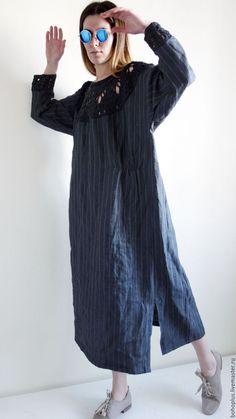 """Купить Платье из льна """"Серафима С"""" - темно-серый, в полоску, платье из льна, платье в полоску"""