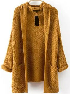 Pockets Chunky Knit Khaki Coat Shein.com
