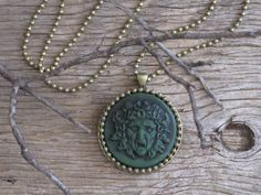 LAST ONE Medusa Unique Greek Steampunk Goth Medusa with Snakes Polymer Clay and Antique Brass Medallion Necklace