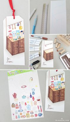 Sticker scene building gift tag @ bloomize.com