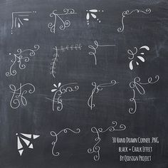 Hand drawn chalkboard corner clip art for scrapbooking, card making, blog graphics. You need to use this chalk doodle corner on top of chalkboard
