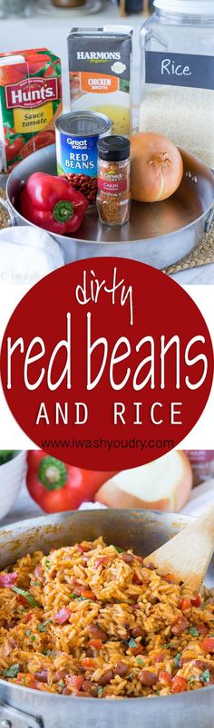 I'm in love with this one skillet Dirty Red Beans and Rice!                                Veg broth instead of chicken and faux sausage