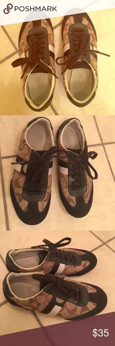 Coach shoes Coach shoes condition is good just faded letter inside the shoe but can't see when you put them on and only the bottom has a light orange stain other then that they're clean with no stains in the front or torn Coach Other