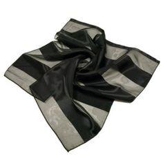 Premium Silk Feel Striped Satin Square Scarf, Black TrendsBlue. $3.50