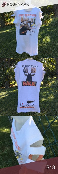 """1 Big Ass Turdy Point Buck Vintage Cut-Out Long T Hunter Humor!  Yes, it's the Ever Elusive """"Turdy Point Buck"""" on a Vintage Shoulder Cut-Out Tee!  Male Deer/Buck's Front & Back Side (LOL) is on on this 2 Sided Tee!  It's a Very Long Tee Which Now Fits a Size Small. You Could Use as a Swim Cover-Up, to Lounge or Sleep in.  I Purchased it Oversized in the Late 1980's-Early 1990's & Sewed it Much Tighter so it Fits Very Slim Now.  I also Cut the Sleeves.  Only Flaws are Tiny Spots on Shoulders…"""