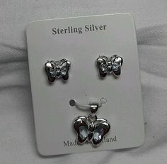 Butterfly Chrome Plate on Sterling Silver 925 Set of Stud Earrings And Pendant  #Stud