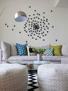 Sala de estar - Uso do espaço na parede e padrões