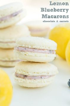 Lemon Blueberry Macarons | chocolateandcarrots.com