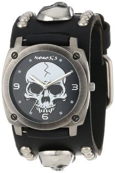 Nemesis-Mens-MSK926K-Punk-Rock-Collection-Black-Heavy-Duty-Skull-Leather-Band-Watch