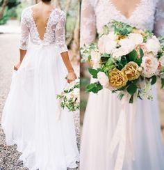 V Neck Backless Lace Wedding Dress 2016 3/4 Sleeve A Line White Ivory Chiffon