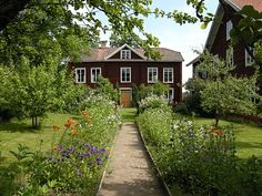 Walkway with flower border Porch Garden, Garden Shrubs, Garden Cottage, Home And Garden, Swedish Cottage, Cute Cottage, Sweden House, Red Houses, Summer Garden