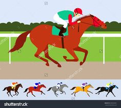 Red Race Horse With Jockey On Racecourse. Flat Design Vector Illustration. 6…