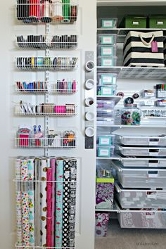 34 Unique Organizing and Storage Items that will Help You Save Space in Simple Ways - The Trending House Craft Closet Organization, Craft Room Storage, Storage Closets, Craft Rooms, Organizing, Wrapping Paper Storage, Ideas Para Organizar, Home Office Decor, Getting Organized