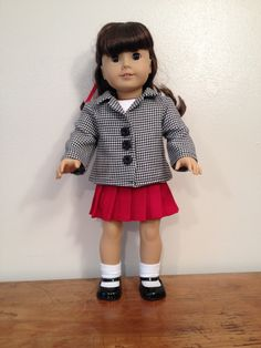 American Girl Doll, 18 Inch Doll, Handmade Red Wool Pleated Skirt, Black White Houndstooth Jacket, Collar and Buttons, White Tee, Item #1094 by LeslieNLaura on Etsy