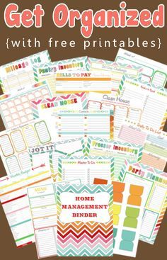 Create your perfect home management binder with these free planner printables. Organize your entire home, life, and family with a diy home management or family binder. Household Binder, Household Organization, Binder Organization, Organizing Tips, Organising, Diy Organisation, Printable Planner, Planner Stickers, Free Printables