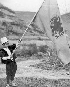 Little Boy Holding The #Albanian #Flag In #Albania On April 8, #1939.  April 08, 1939 Keystone-#France