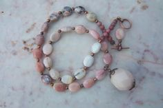 Pink opal and copper necklace with pendant by mooliemarket on Etsy, $36.00