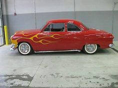 1949 Ford Business Coupe Custom with Lakes Pipes, Spinner Hubcaps & Flames LL:)