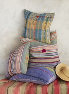 Vintage Sari Pillow - colorful, one-of-a-kind, hand-stitched, kantha pillows. Kantha Stitch, Cotton Bedding, Fashion Colours, Hand Stitching, Loom, Family Room, Weaving, Fabrics, Sari