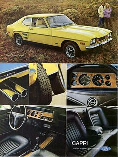 Items similar to 1972 Ford Sport Coupe Capri Car Ad Yellow Automobile Photo Vintage Advertising Print Garage Wall Art Decor on Etsy Ford Sport, Mercury Capri, Pub Vintage, Vintage Cars, Ford Motor Company, Opel Gt, Audi, Bmw Autos, Ford Classic Cars