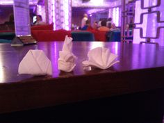 This was on a holiday to Turkey with my boyfriend at the time. We both worked in a hotel as waiters so we were very sad and had to make mini napkin displays