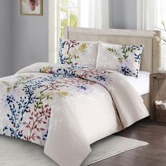 Enhance the look of your bedroom with the darling Style Quarters Dahlia Lane Duvet Cover. With vining floral stems backed by white leafy silhouettes, this cotton duvet cover set exhibits a freshness and comfort that will last. King Duvet Set, King Duvet Cover Sets, Bed Duvet Covers, Queen Duvet, Comforter Sets, Duvet Bedding, Dahlia, 100 Cotton Duvet Covers, Stores