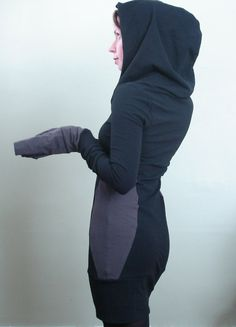 extra long sleeved hooded tunic dress Black/Cement by joclothing