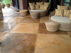 Concrete patio design can make your yard really stand out. You will have your neighbors wishing for the unique designs you choose in concrete. Concrete Patios, Concrete Patio Designs, Cement Patio, Concrete Fire Pits, Concrete Projects, Concrete Floors, Flagstone, Patio Pictures, Cozy Patio