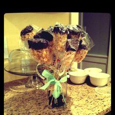 Rice Krispie treats dipped in chocolate -- great bake sale idea