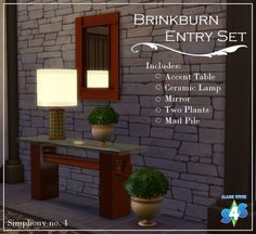 simphony-number-4:  ~Brinkburn Entry Set~ Hurray, its finished! My first real set - made 100% by me! Also since just reached 100 followers, I guess this is what might be called a 100 follower gift too! (Although I would have given it to you even if there were only 10 followers). So about this set. Its neo-mission style, I guess. It includes six items for your simmy's homes. I have decided since I am making things on my own now, I am only going to publish the polys if they are over 1k…