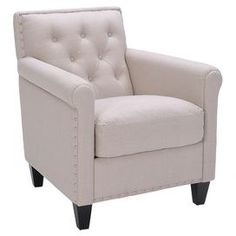 Diamond-tufted arm chair with linen-look upholstery and silver nailhead trim.     Product: ChairConstruction Material: Wood, fabric and metalColor: Linen and espressoFeatures:  Tufted backNailhead detailingSophisticated French country look Dimensions: 32.75 H x 32.75 W x 28.75 D