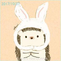 1319 はりこ、うさぎさんになったの I'm a rabbit. #illustration #hedgehog #rabbit #イラスト #ハリネズミ #ウサギ #なみはりねずみ