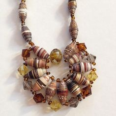 #necklace #jewelry made from #recycled #paper #magazine #beads #unique By Mari M.