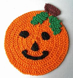 Best Free Crochet » #326 Pumpkin Dishcloth – Maggie Weldon Maggies Crochet. I would make this without the eyes, nose, and mouth.