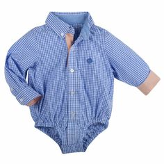 Andy and Evan blue gingham shirtzie