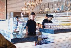 love the colors Cafe Interior Design, Cafe Design, Cafe Restaurant, Restaurant Design, Cafe Uniform, Wall Candy, Paris Cafe, Retail Design, Barista