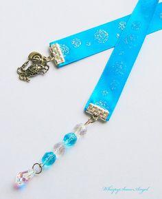 Aqua Sparkle Ribbon Bookmark Swarovski Teardrop by WhispySnowAngel, $10.00