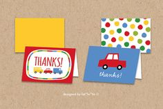 INSTANT DOWNLOAD Boys Toys Fun Transport Thank You by fatfatin, $16.00