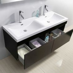 Virtu USA Zuri 55 Double Bathroom Vanity Set in Wenge